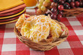 Danish pastries a basket of small on a table with plates Royalty Free Stock Photo