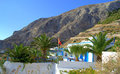 Danish property in kamari santorini picture taken at the foot of messa vouno mountain which reaches a height of m above village Royalty Free Stock Photo