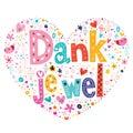Dank je wel thank you in dutch type lettering heart shaped card Stock Photo