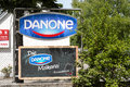 Danone sign infront of the entrance of the dairy factory in the german city of rosenheim Royalty Free Stock Photography