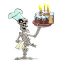 Danse macabre cook skeleton and cake with candles in his hand Royalty Free Stock Images