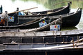 Danube Delta fishermen boats Royalty Free Stock Photo