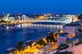 Danube river in night budapest hungary erszebet and szabadsag bridge over image Royalty Free Stock Photos