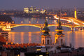 Danube river night view in budapest hungary a through just after sunset st anna church and margaret bridge are the frame long Stock Image