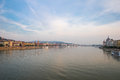 Danube river - panorama in Budapest Hungary. Royalty Free Stock Photo