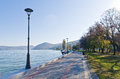 Danube river wide like a sea promenade at city of golubac serbia Stock Image