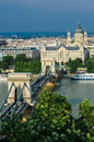 Danube and Szechenyi Chain Bridge, Budapest Stock Images