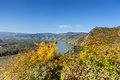 Danube valley in wachau austria with colorful deciduous trees autumn Royalty Free Stock Photography