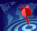Dardo rojo en succe global de la economía mundial de la blanco azul Foto de archivo