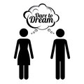 Dare to dream over white background vector illustration Royalty Free Stock Photo