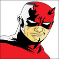 The daredevil in cartoon red face white background by illustrator Royalty Free Stock Photo