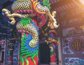 Dargon statue on Shrine roof ,dragon statue on china temple roof as asian art Royalty Free Stock Photo