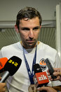 Dario srna is giving an interview photo was taken during the match between shakhtar donetsk city and dynamo kyiv at stadium arena Royalty Free Stock Photo