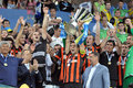 Dario srna is holding a cup photo was taken during the match between shakhtar donetsk city and dynamo kyiv at stadium arena lviv Royalty Free Stock Image