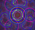 Dark abstract background with rainbow bubbles texture. Circles o Royalty Free Stock Photo