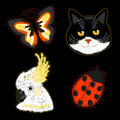 Dark background with fashion patches collection.