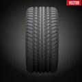 Dark background Realistic rubber tire symbol.