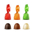 Dark Bitter White Milk Chocolate Candies Red Orange Green Foil Royalty Free Stock Photo