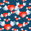 Dark blue abstract background of red hearts Stock Photos