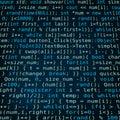 Dark blue background with program code