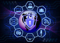Dark blue background with the symbols of the Internet