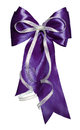Dark blue bow with silver ribbon made from silk Royalty Free Stock Photo