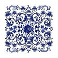 Dark blue floral ornament in national Russian style Gzhel on white background.
