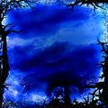 Dark blue forest square background frame Royalty Free Stock Photo