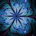 Dark blue fractal flower Royalty Free Stock Photo