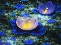 Dark blue fractal flowers Royalty Free Stock Photo