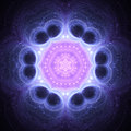 Dark blue fractal mandala Royalty Free Stock Photo