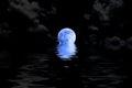 Dark Blue Full Moon In Cloud W...