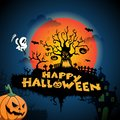 Dark Blue Happy Halloween Background Illustration with scary tree