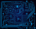 Dark blue industrial electronic circuit board vect hi tech vector abstract background Royalty Free Stock Images
