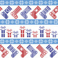 Dark blue, light blue and red Nordic Christmas pattern with stockings, stars, snowflakes, presents, decorative ornaments in scandi Royalty Free Stock Photo