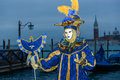 Dark blue masked woman dawn venice Stock Photography