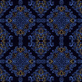 Dark blue retro Wallpaper with golden elements. Royalty Free Stock Photo