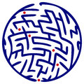 Dark blue round maze white background Royalty Free Stock Photos