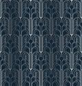 Dark blue and silver art deco geometric seamless pattern Royalty Free Stock Photo