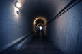Dark blue tunnel old underground long Stock Photos