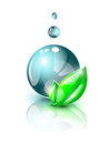 Dark blue water droplet large with green leaves Stock Photo
