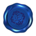 Dark blue wax seal with abstract historical ornament