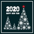 Dark blue and white background with 2020, christmas fir trees, english text. Happy New Year, festal greeting card Royalty Free Stock Photo