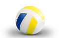 Dark blue yellow volley ball ball on a white background Royalty Free Stock Image