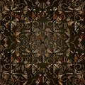 Dark brown abstract 3d floral vector seamless pattern. Royalty Free Stock Photo