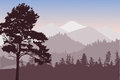 Dark brown illustration with mountain forest in mountains Royalty Free Stock Images