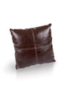 Dark brown leather cushion on white background Royalty Free Stock Photography