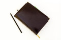 Dark brown leather notebook-business diary Royalty Free Stock Photo