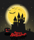 Dark castle in a full moon happy halloween illustration Royalty Free Stock Images
