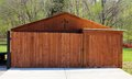 Dark cedar wood shed a newly constructed Stock Photos